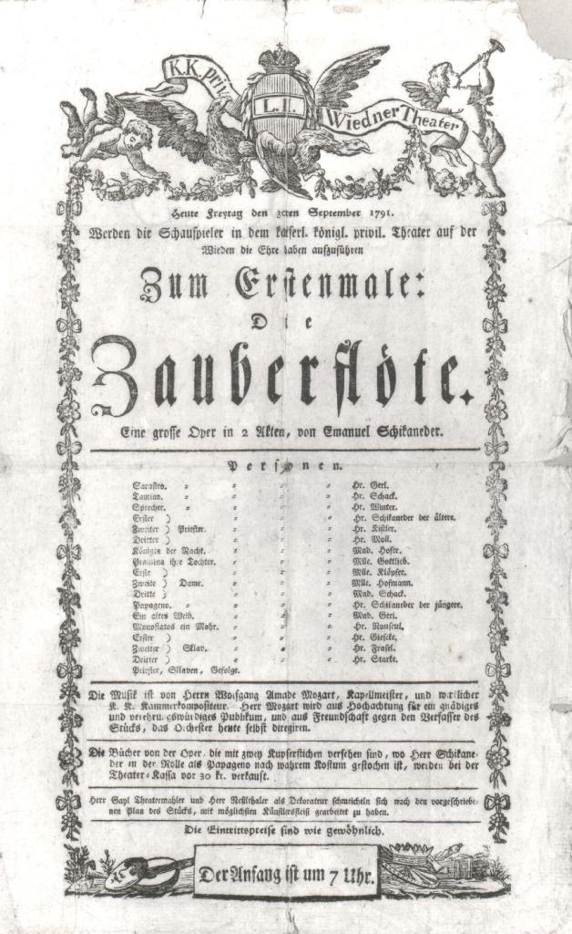 Cartel original del estreno de la Flauta Mágica en 1791