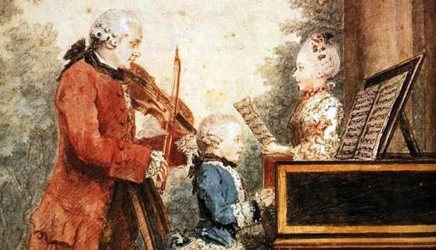 Gran misa en do menor de Mozart en Múnich vídeo Leopold Mozart, con sus dos hijos, Wolfgang y Nannerl, en París en 1764, pintado por Louis Carrogis
