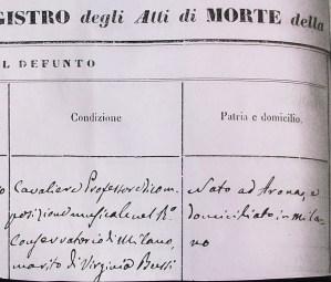 1879 - Boniforti, atto di Morte (Archivio parrocchiale Trezzo)