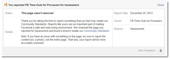 """Results of report to Facebook of the """"FB Time-Outs for Provaxers"""" page"""