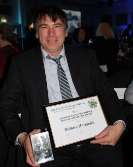 A very happy Richard Hardwick (Road Metals)  with the Southern Cross Engineering Rocktec Award