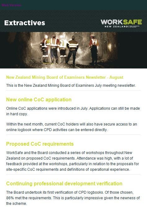 WorkSafe NZ Newsletter Aug 2017