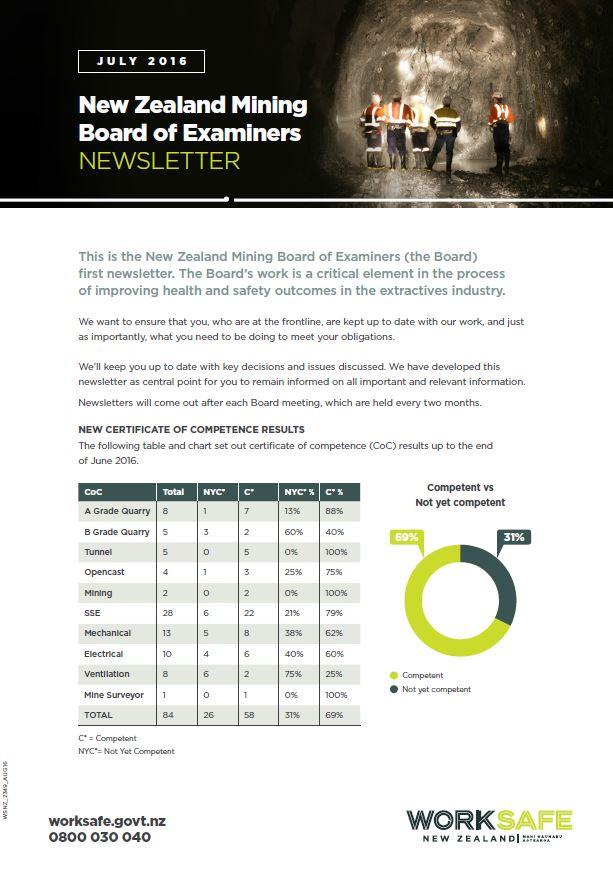 WorkSafe NZ BoE Newsletter July 2016