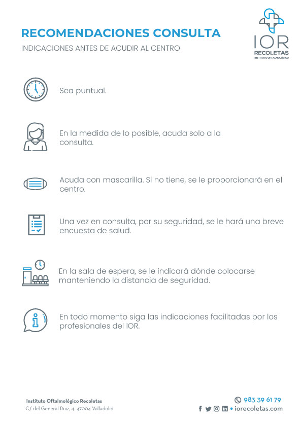 Recomendaciones consultas. Información de interés para los pacientes del Instituto Oftalmológico Recoletas.