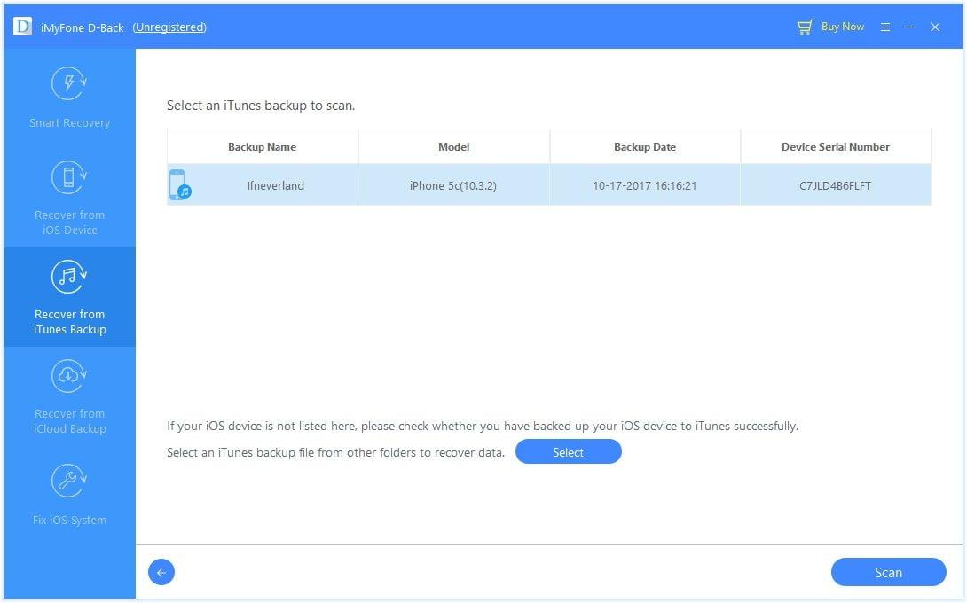 D-back ibalik mula sa iTunes backup piliin ang backup