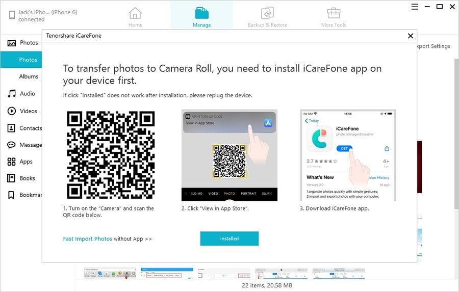 Download aplicativo de transferência do iPhone no iPhone para transferir fotos do PC no iPhone