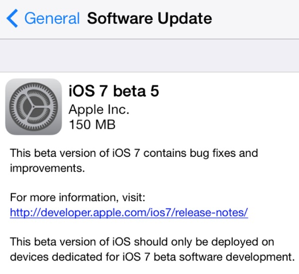 iOS 7 beta 5 main
