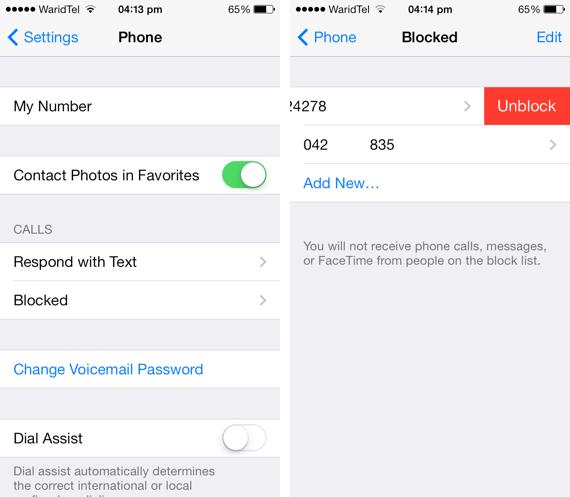 unblock numbers iOS 7