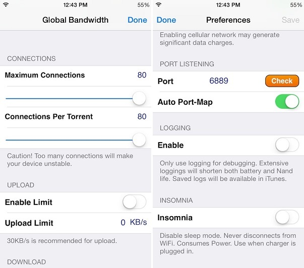 iTransmission gains iOS 7 support, lets you control BitTorrent from