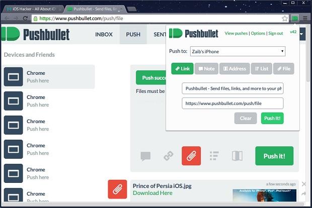 Pushbullet chrome iOS (1)