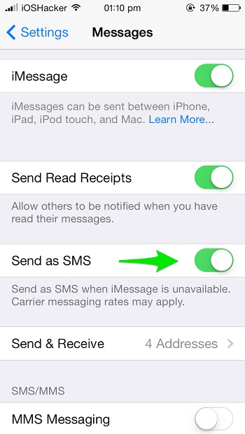 Send as SMS iOS