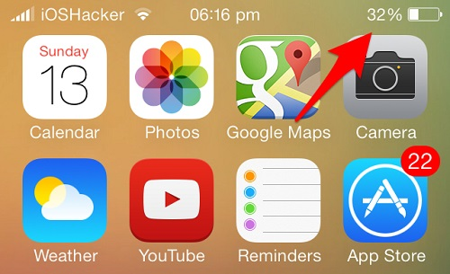 battery percentage sign iOS