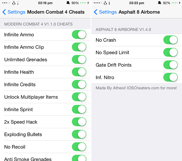 Modern Combat Asphalt cheat codes