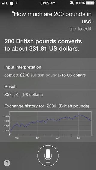 Siri Currency conversion
