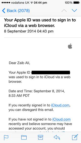 Apple iCloud email