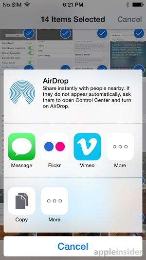 iOS 8 share sheet