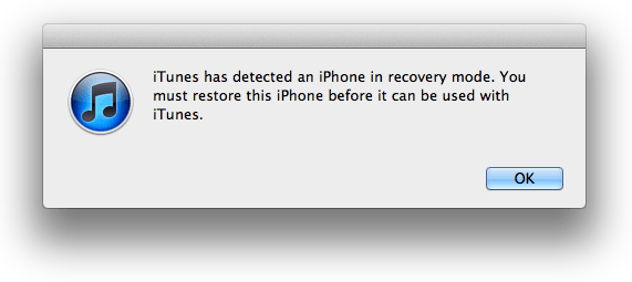 iTunes Recovery popup