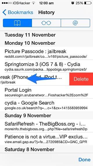 History page delete iOS 8