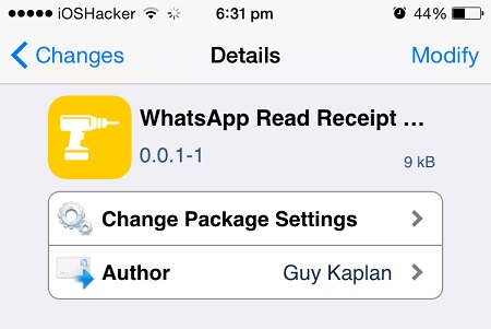 WhatsApp Read Receipt Disabler tweak