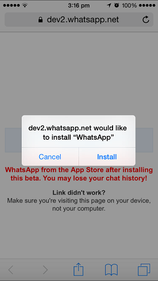 WhatsApp calling beta
