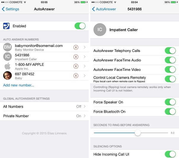AutoAnswer (iOS 8) tweak
