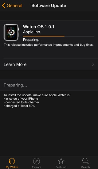 WatchOS update