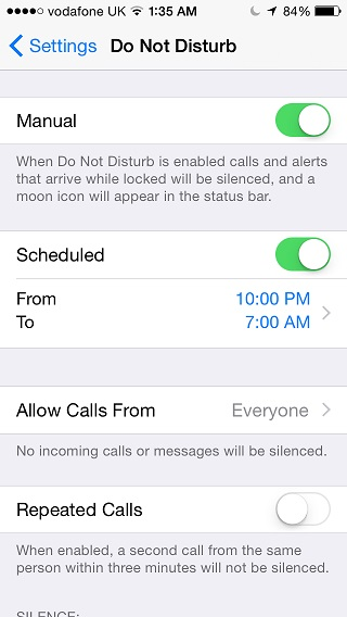 Do Not Disturb mode iOS