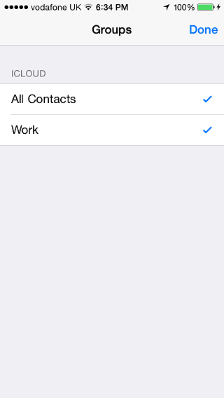 iOS Contact Groups main