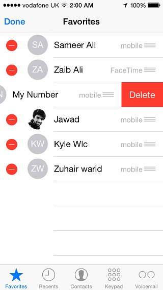 iOS Favorites contacts  (5)