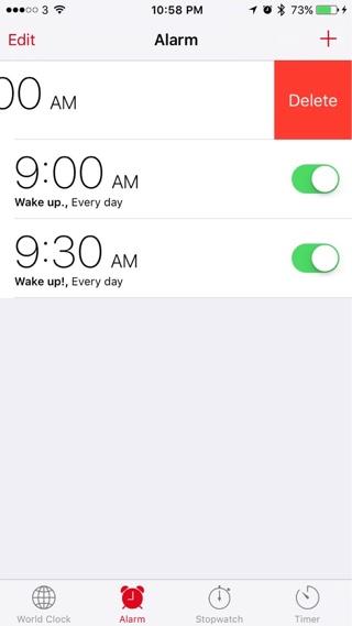 iOS 9 alarm delete