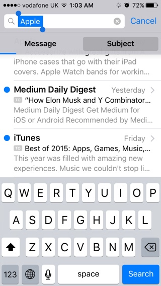 Mail iOS search
