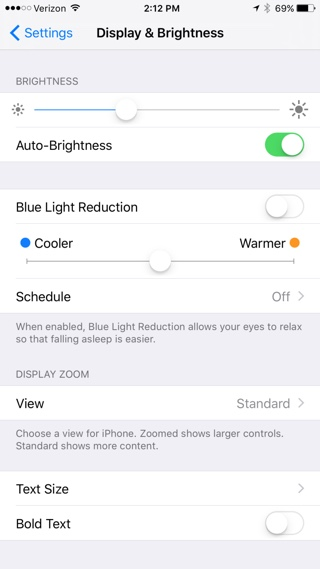 Night Shift Mode iOS 9