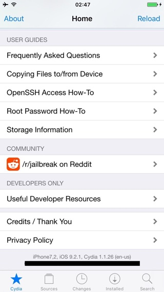 iOS 9.2.1 jailbreak screenshot