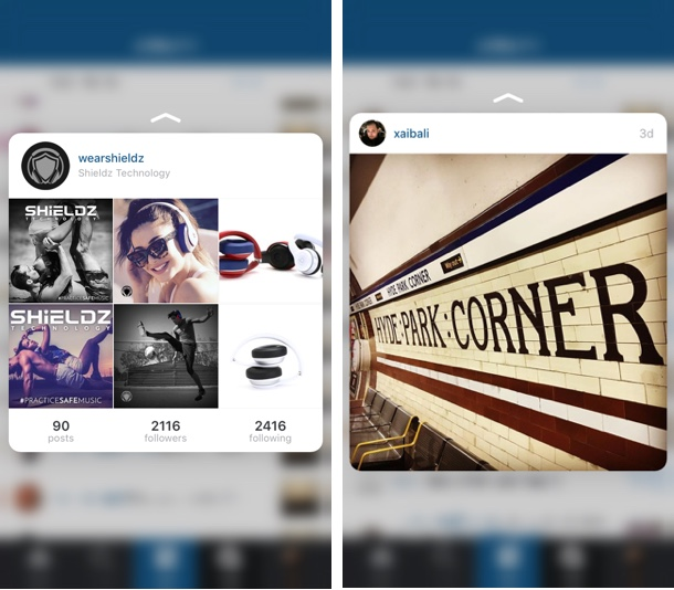 Instagram Activity 3D Touch