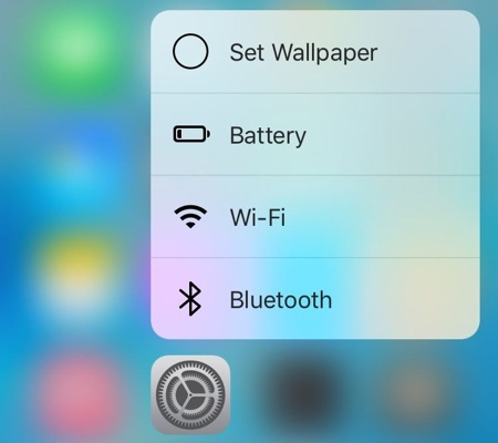 Settings 3D Touch menu