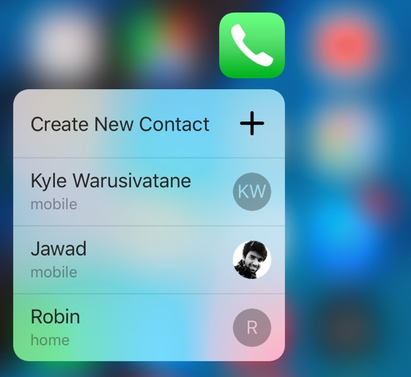Phone 3D Touch menu