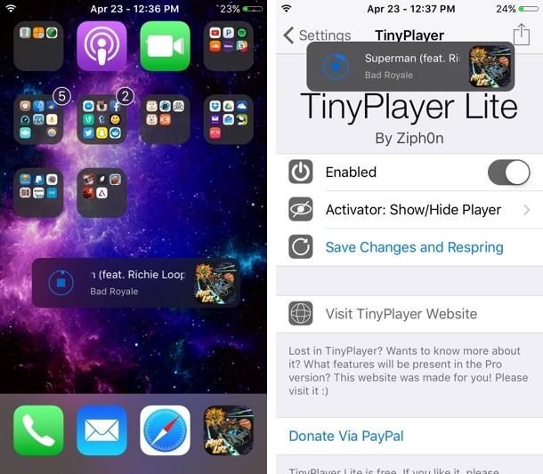 TinyPlayer tweak