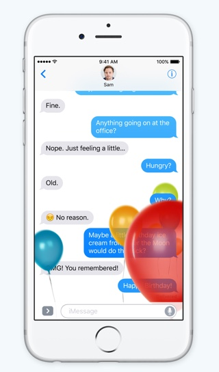 Balloon effects iOS 10 Messages