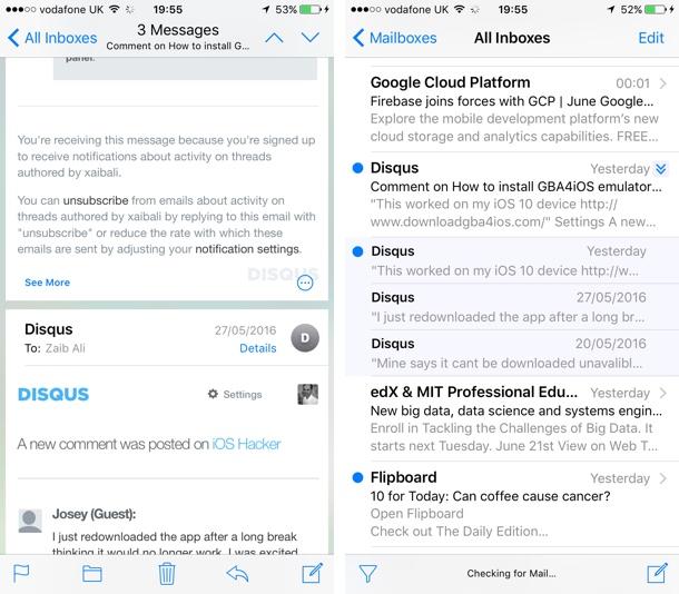 Mail threads iOS 10