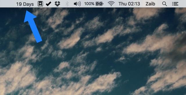 Status Bar Countdown app Mac 1