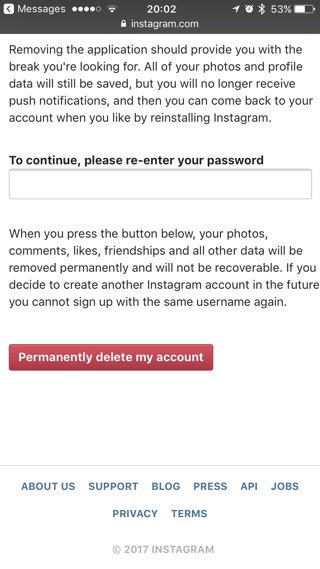 How to delete an instagram account on iphone or ipad ios hacker delete your instagram account ccuart Gallery