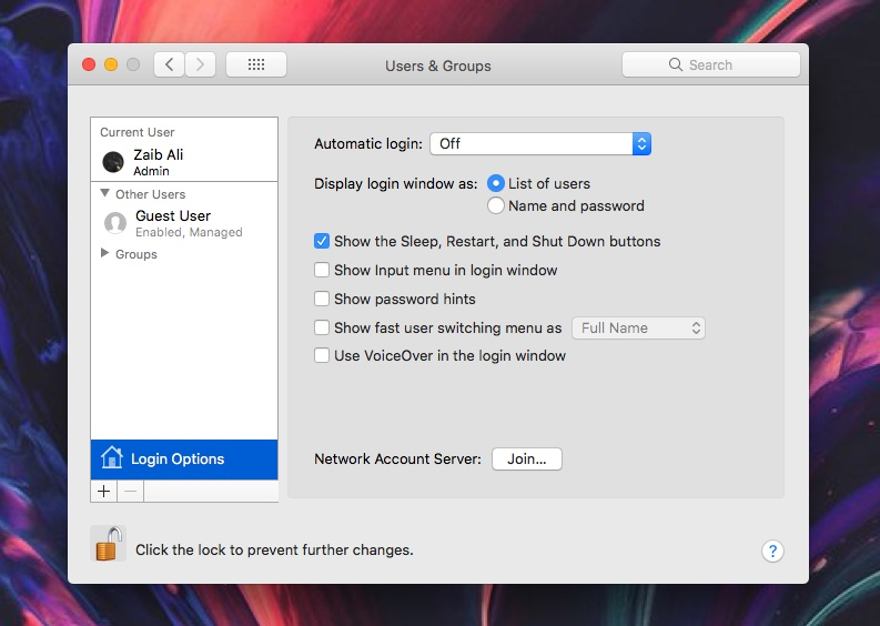 Enable root account mac