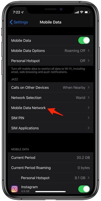 Fix Cellular Network iPhone