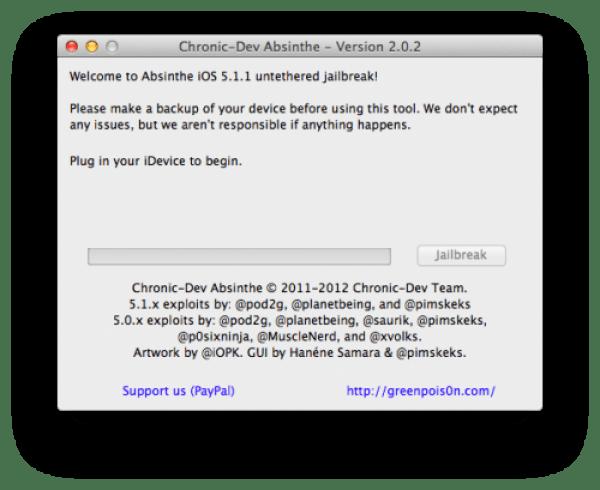 Actualización de Absinthe 2.0.2 para build 9B208 iOS 5.1.1