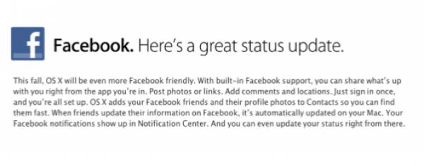 integracion de Facebook en Mountain Lion para octubre