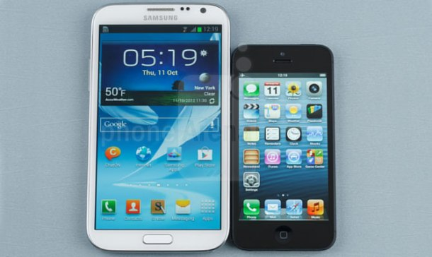 iPhone 5 apple vs Galaxy note samsung