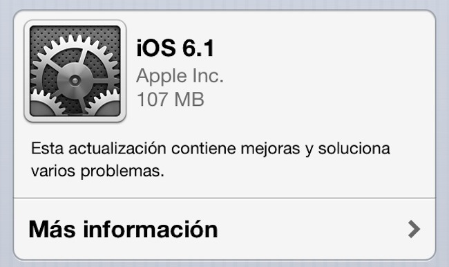 iOS 6.1 actualización-disponible
