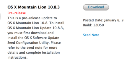 OS X Mountain Lion 10.8.3 build 12D50