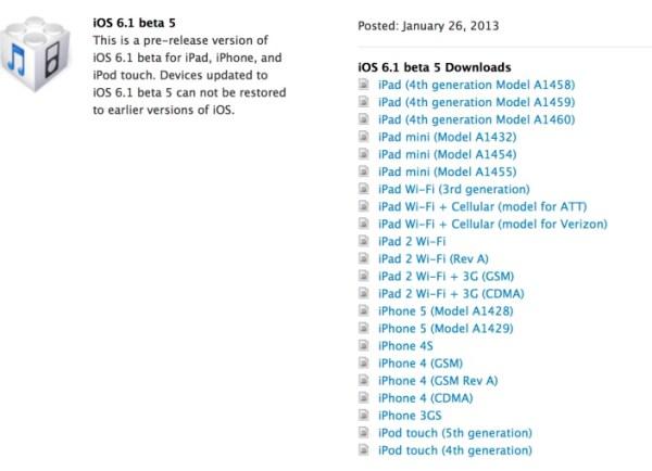 iOS 6.1 Beta 5-para-desarrolladores