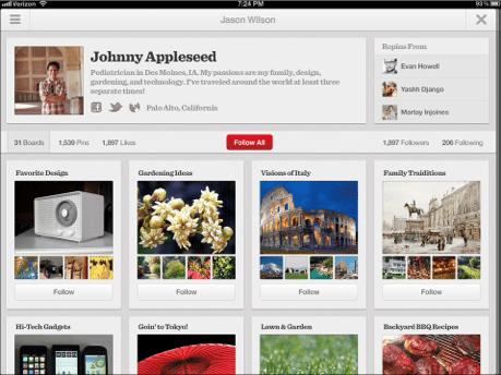 Pinterest para iOS_iPad